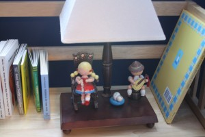 Our little library lamp is from Eric's nursery.  It is charming and plays a little song.