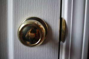 This door knob goes to a secret hideaway in his room - really a large storage area.  Once we make sure it is safe - we will let him play in there (when he gets really old)!