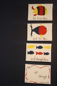 I painted these for LB while my friend Gray was over (she was cooking).  It was fun to be artsy!